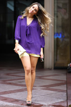 deep purple Forever21 blouse - bronze Altramarea shoes - yellow Accessorize bag