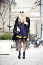 black Laltramoda coat - navy Chicwish dress - black Chanel bag