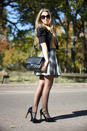 black Chanel bag - mustard Forever21 shirt - black Forever21 skirt