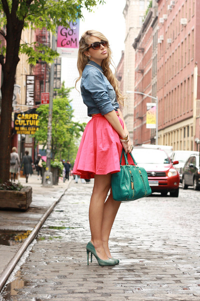 hot pink luluscom skirt - periwinkle tezenis shirt - teal Remi&Emmy bag