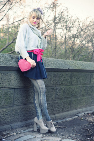 hot pink H&amp;M bag - silver Express sweater - navy Stradivarius tights