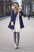 navy H&M coat - heather gray H&M hat - beige H&M skirt
