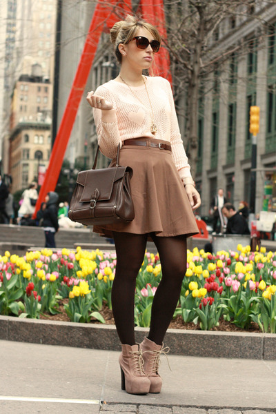 neutral Jeffrey Campbell boots - nude Forever21 sweater - crimson Trussardi bag