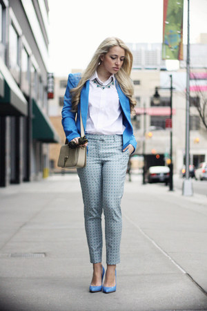blue romwe blazer - beige YSL bag - blue Guess heels - light blue H&amp;M pants