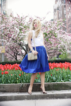 navy Spiegel skirt - white furor moda shirt - beige YSL bag