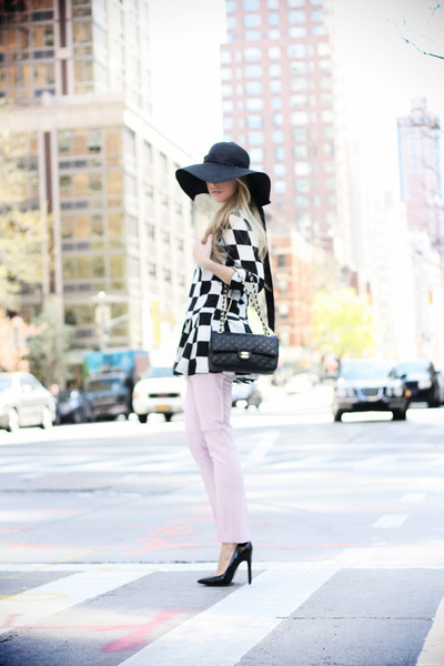 black Sheinside dress - black Forever21 hat - black Chanel bag