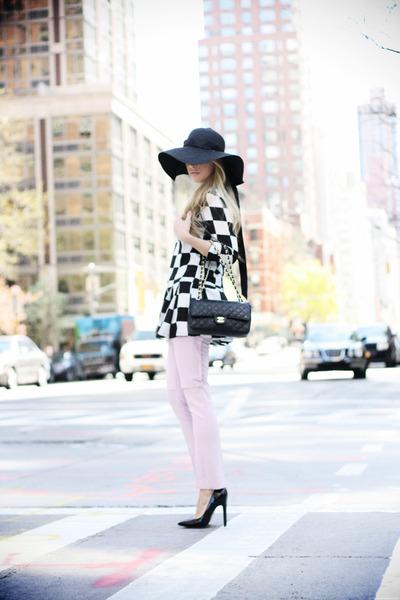 black Sheinside dress - black Forever21 hat - black Chanel bag