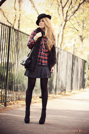 black Topshop boots - ruby red Choies shirt - black Chanel bag
