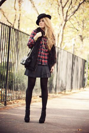 black Topshop boots - ruby red Choies shirt - black Chanel bag