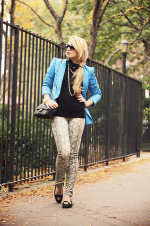 black H&amp;M sweater - light brown Big Star USA jeans - blue romwe blazer