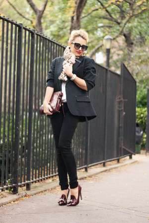 crimson Jennifer Haley bag - black GALLIANO blazer - tan adrienne landau scarf