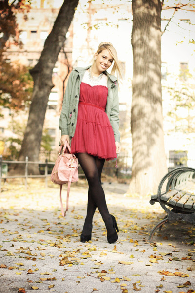 crimson Chicwish dress - army green Chicwish jacket - pink Miu Miu bag