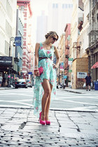aquamarine Sheinside dress - hot pink H&M bag - hot pink Bershka heels