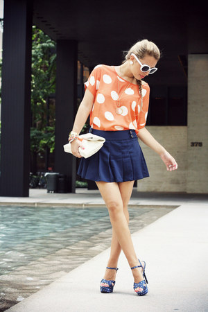 carrot orange VJ Style shirt - white VJ Style bag - navy Forever21 shorts
