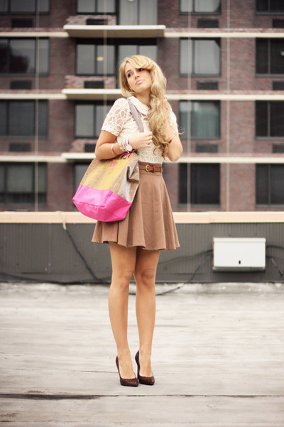 brown Forever21 skirt - off white OASAP dress - bubble gum  ggl bag