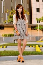 heather gray plaid dress - light orange neon Superb Finds accessories