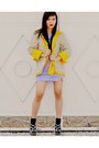 Light-purple-velvet-forever-21-dress-yellow-dotted-liz-clairborne-blazer-bla