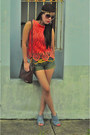 Violet-so-fab-shoes-army-green-denim-hip-couture-shorts-light-orange-crochet