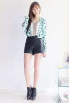 dove-print H&M jacket - leather Topshop shorts - H&M necklace - Forever 21 top -