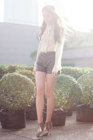 sheer Mango shirt - Coexist shorts - sm accessories ring - brian atwood heels