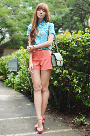 SM GTW shorts - penguin blouse - CMG heels