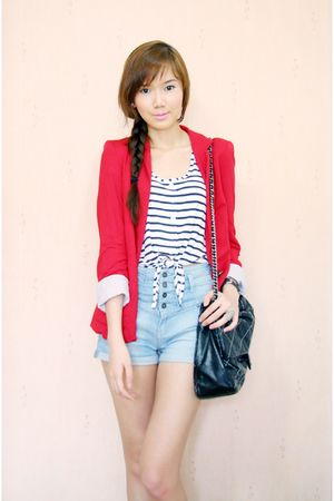 new look top - Shoeology shoes - Zara blazer - Chanel bag - Topshop shorts