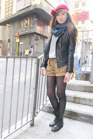 leather korea jacket - Aldo boots - H&M hat - Topshop sweater - Prada bag