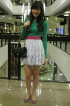 purple Newlook shoes - green H&M top - white H&M skirt - bag Chanel