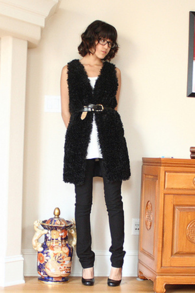 J Brand jeans - black Chinese Laundry shoes - tank H&amp;M top - handmade vest