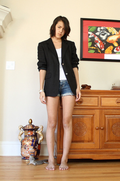 talbots blazer - American Apparel top - American Eagle shorts -