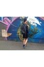 Black-antistar-dress-black-wet-seal-jacket-blue-rebecca-minkoff-bag