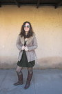 Dark-brown-thrifted-vintage-boots-dark-green-from-a-clothing-swap-dress-came