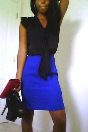wallet - skirt - satin blouse - patent leather pumps