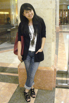 black Yuan blazer - white Zara top - black glitz shoes