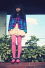 Violet-vintage-blazer-bubble-gum-tights-eggshell-iwearsin-skirt