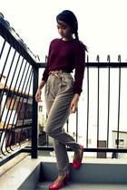 red American Apparel sweater - beige American Apparel pants - brown belt - pink