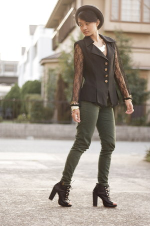 forest green Zara pants - black Parisian boots - heather gray Uniqlo hat