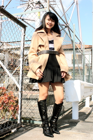 beige Michel Klein coat - black Top Shop dress - black random brand skirt - blac