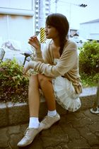 beige American Apparel cardigan - beige dress - white American Apparel socks - b