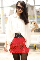 red hearts Topshop skirt - black American Apparel tights