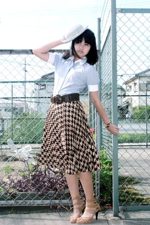 from japan hat - Uniqlo blouse - Mango belt - from japan skirt - Possibility sho