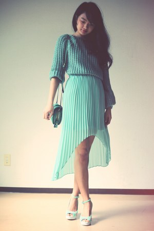 teal Murua skirt - teal OASAP bag - aquamarine Celine heels - teal jumper