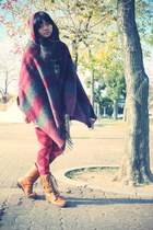 charcoal gray vintage sweater - burnt orange Forever 21 boots - crimson tights