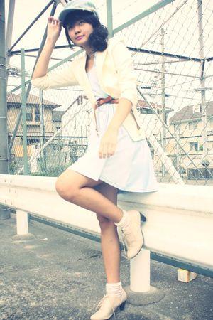 blue hat - white blazer - blue Pearlavish dress - white socks - beige shoes - br