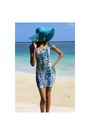 Teal-h-m-dress-turquoise-blue-fine-accessories-inc-hat