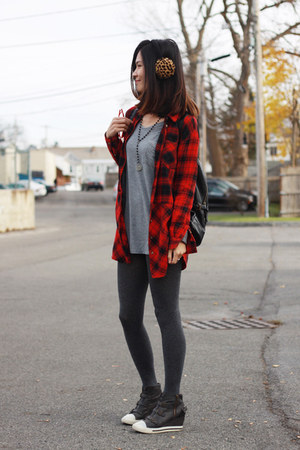 red plaid H&M shirt - gray H&M tights - red H&M sunglasses - gray 2R wedges