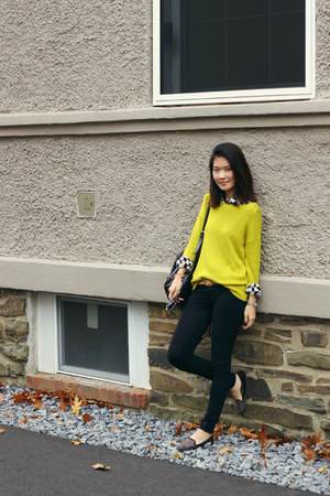 yellow knitted Forever 21 sweater - black backpack boutique bag