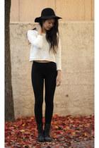 white OASAP sweater - black OASAP hat