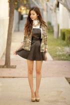 black asos dress - dark green Topshop jacket - white Rose Wholesale top