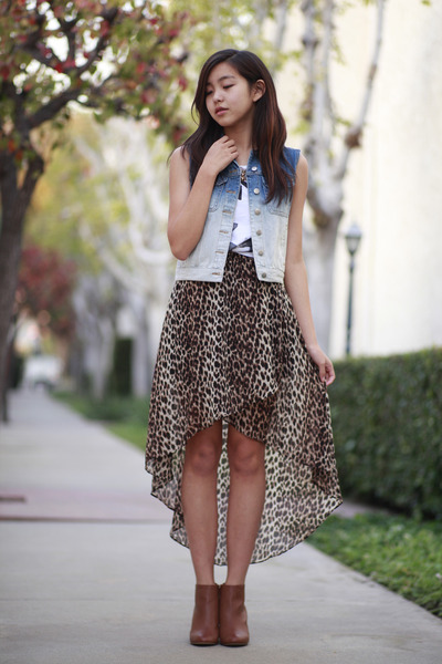 blue Forever 21 vest - brown Forever 21 skirt